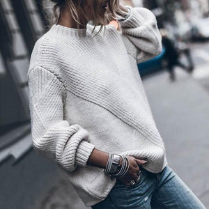 Poptia Round Neck Long Sleeve Plain Sweater