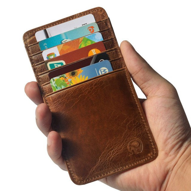 PU Leather Slim Men Credit Card Holder Brand