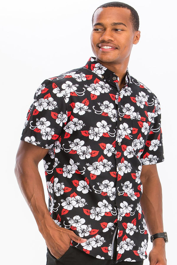 Contrast Red Floral  Button Down