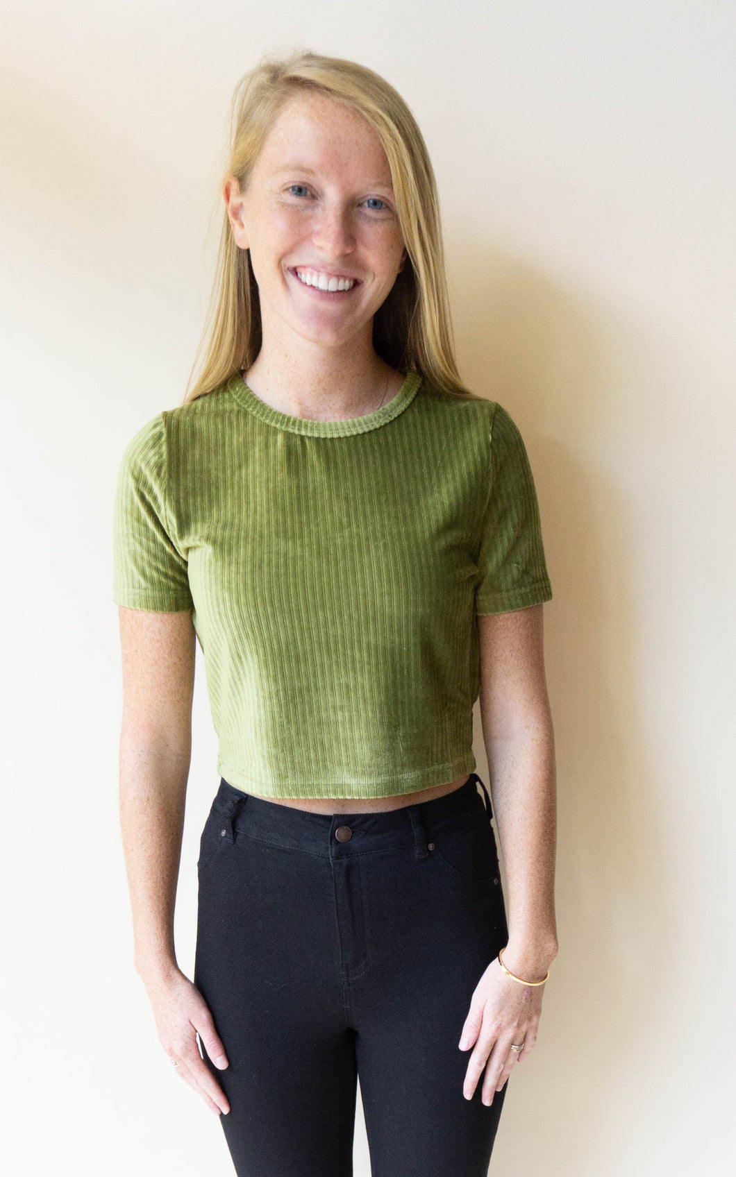 Hillary On The Bass Crop Top, Olive