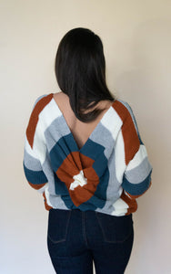 What A Twist Sweater, Rust/Teal