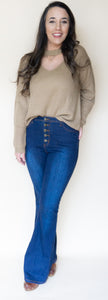 Ring My Bell Flare Jeans, Dark Denim