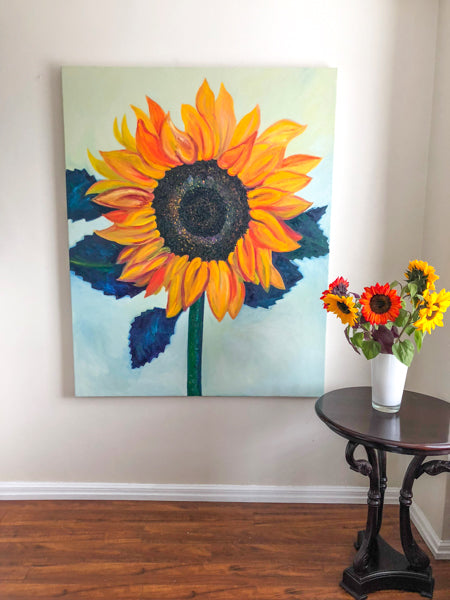 Sunflower Oil Painting by Stephanie Burns