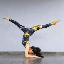 Load image into Gallery viewer, Black and Gold Leotard - aqayoga  Leotard UK Yoga Store