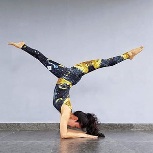 Black and Gold Leotard - aqayoga  Leotard UK Yoga Store