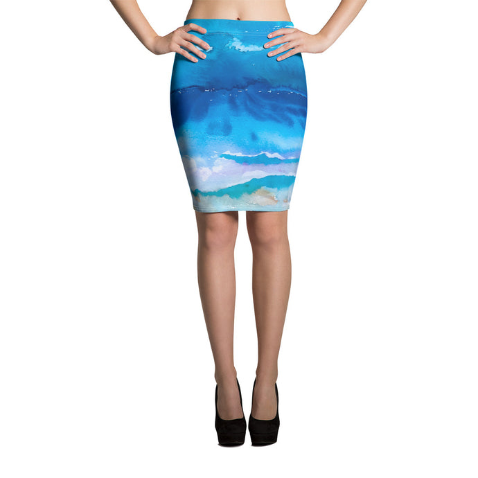 Over the Sea Pencil Skirt - aqayoga  Skirt UK Yoga Store