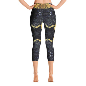 Black and Gold Yoga Capri - aqayoga  Yoga Capri UK Yoga Store