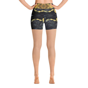 Black and Gold Yoga Shorts - aqayoga  Yoga Shorts UK Yoga Store