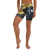 Load image into Gallery viewer, Black and Gold Yoga Shorts - aqayoga  Yoga Shorts UK Yoga Store