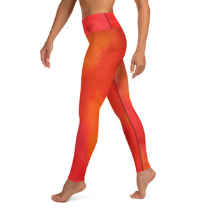 Red Love Yoga Leggings - aqayoga  YOGA LEGGINGS UK Yoga Store