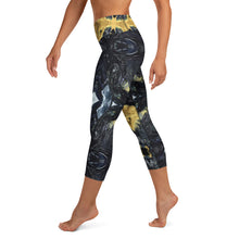 Load image into Gallery viewer, Black and Gold Yoga Capri - aqayoga  Yoga Capri UK Yoga Store