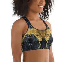 Load image into Gallery viewer, Black and Gold Sports Bra - aqayoga  Sports Bra UK Yoga Store