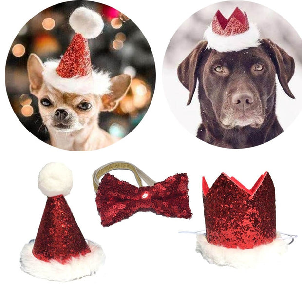 Christmas Pet Dog Cat Bow Tie and Cap - Sporty Types