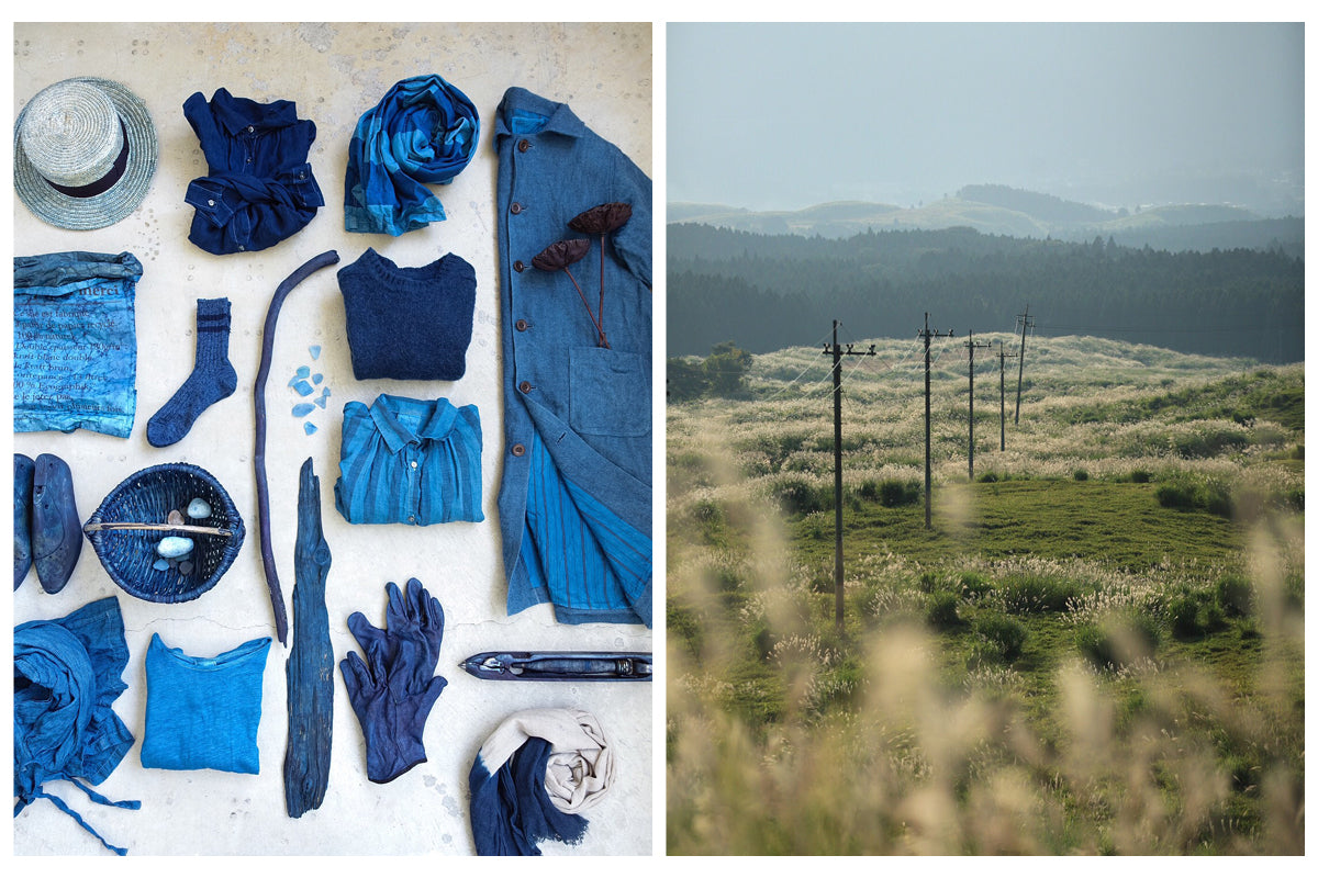 Left image of a collection of Indigo dyed garments and objects. Image on right is a landscape of the French countryside.