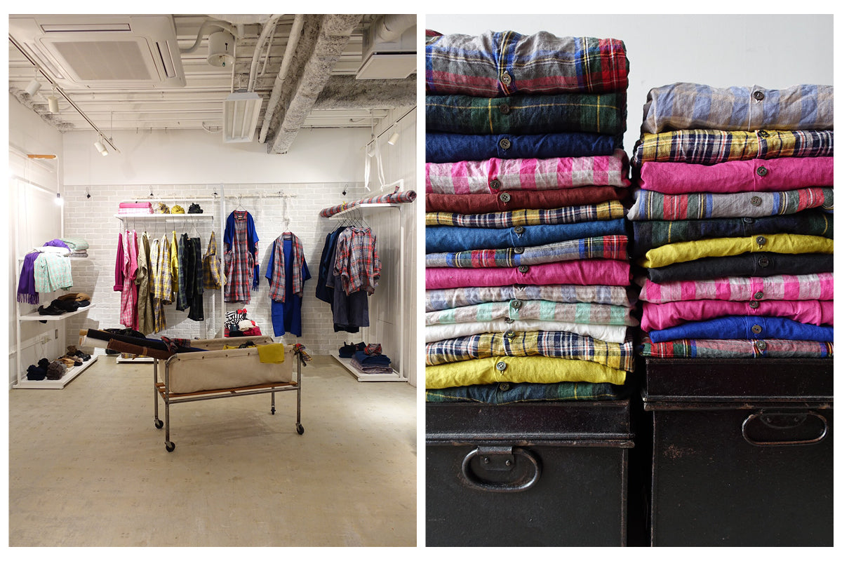 Image on the left is of the Ichi Antiquités Paris market showroom. Image on right is of folded stacks of brightly colored and patterned linen garments.