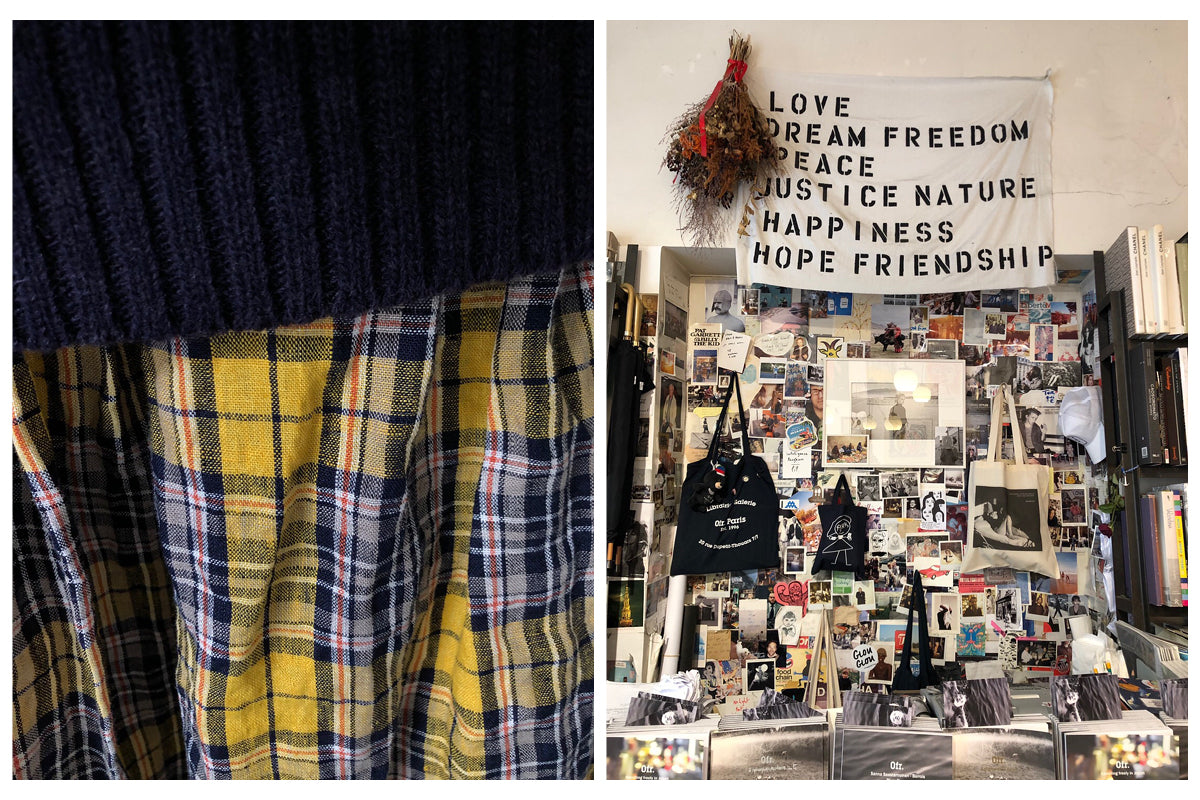 Image on left is a close-up detail of a yellow and black check linen fabric. Image on right is of a record store interior, taken in Paris.
