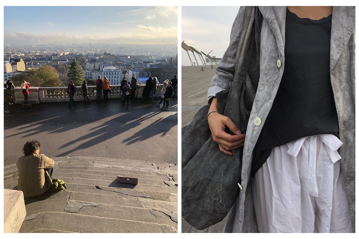 Image on left is of Ichi Antiquités designer Jumpei sitting on steps looking out at a view of Paris. Image on right is a close-up crop of a white, grey and black linen outfit worn by Yuki.
