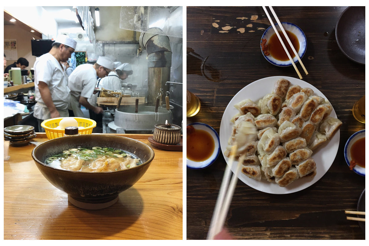 Image on the left is of an open restaurant kitchen where chef's prepare Japanese food.  Image on the right is a top down view of a plate of fried dumplings.