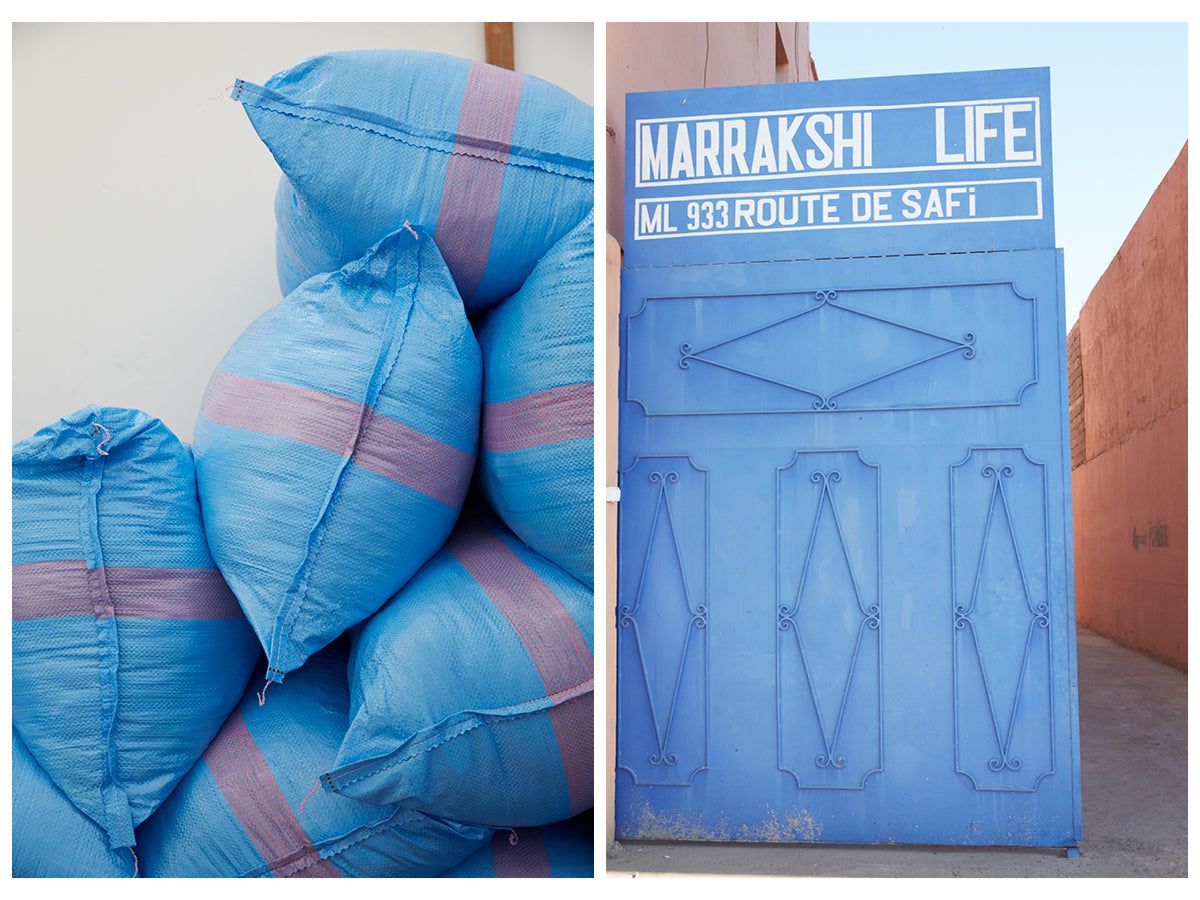 The first image is of a pile of blue bags with red stripes. The second image is of an ornate blue door displaying Marrakshi Life, ML 933 Route de Safi.