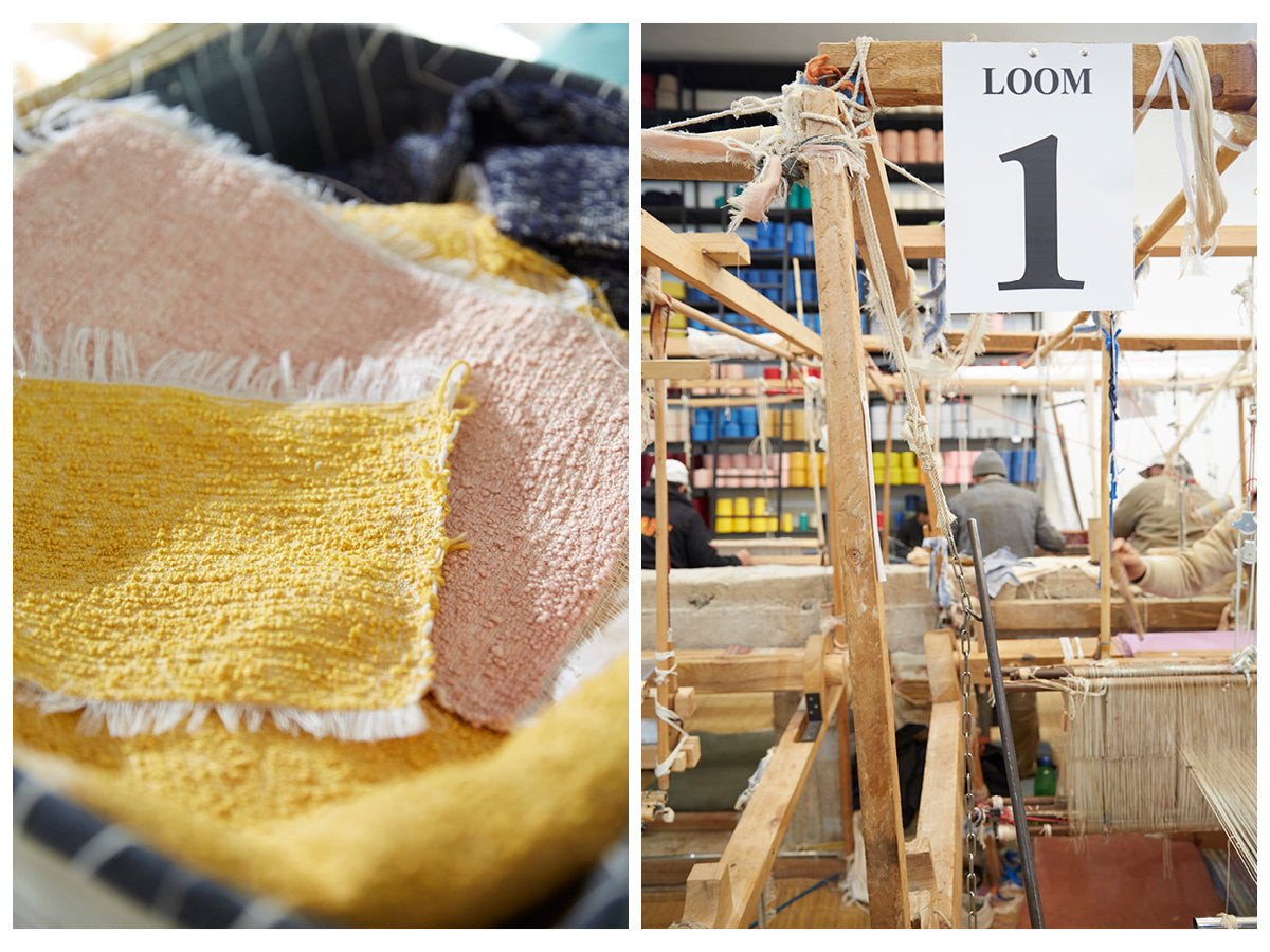 The first image is of yellow and pink woven textile swatches. The second image is of artisans working at their looms in the Marrakshi Life atelier.