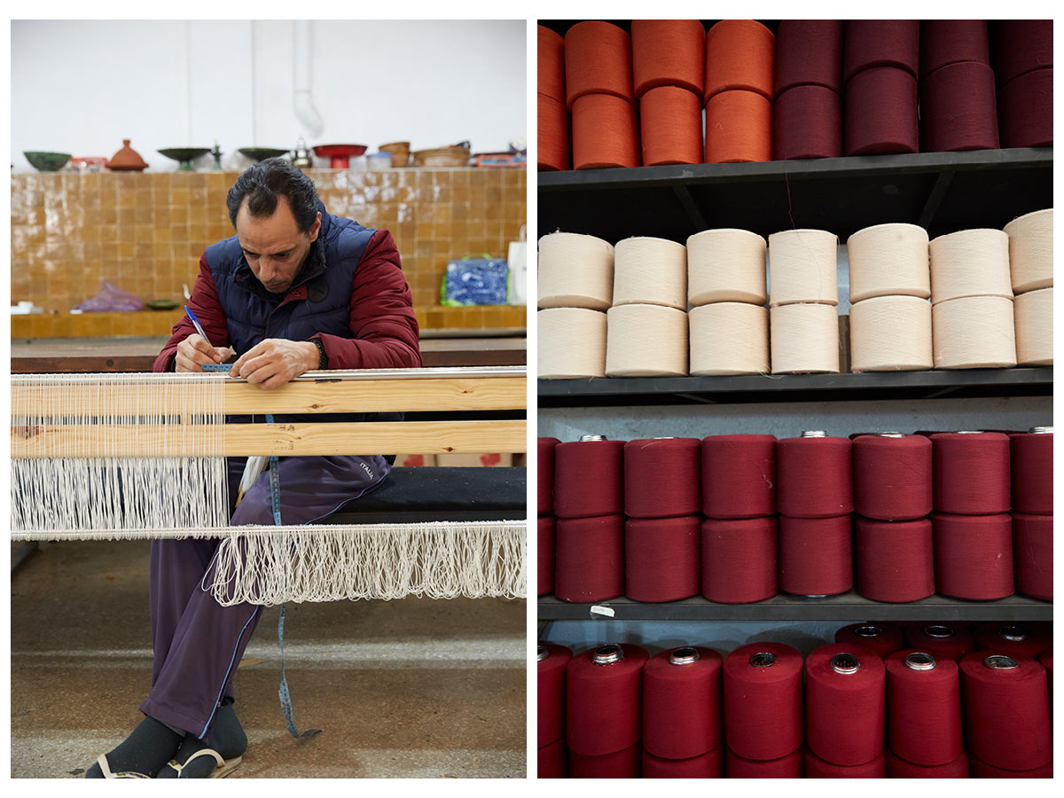 The first image shows a male artisan working at a weaving loom in the Marrakshi Life atelier. The second image is of shelves holding rows of ecru, orange, red and burgundy yarn spools.