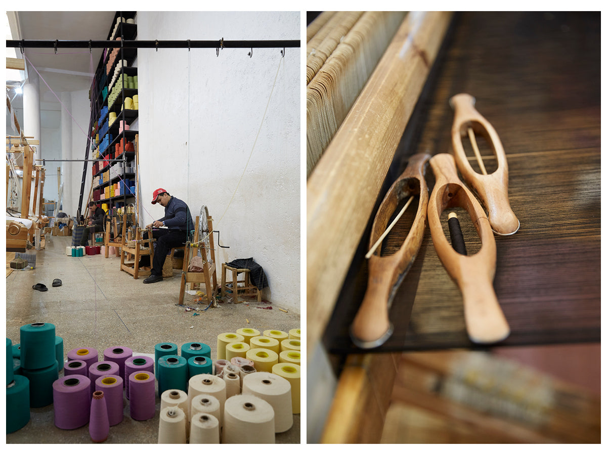 The first image is of a male artisan sitting at a yarn spinning wheel, rows of brightly colored yarn spools can be seen in the foreground and background. The second image is a close up of three wooden weaving shuttles resting on a large hand loom.