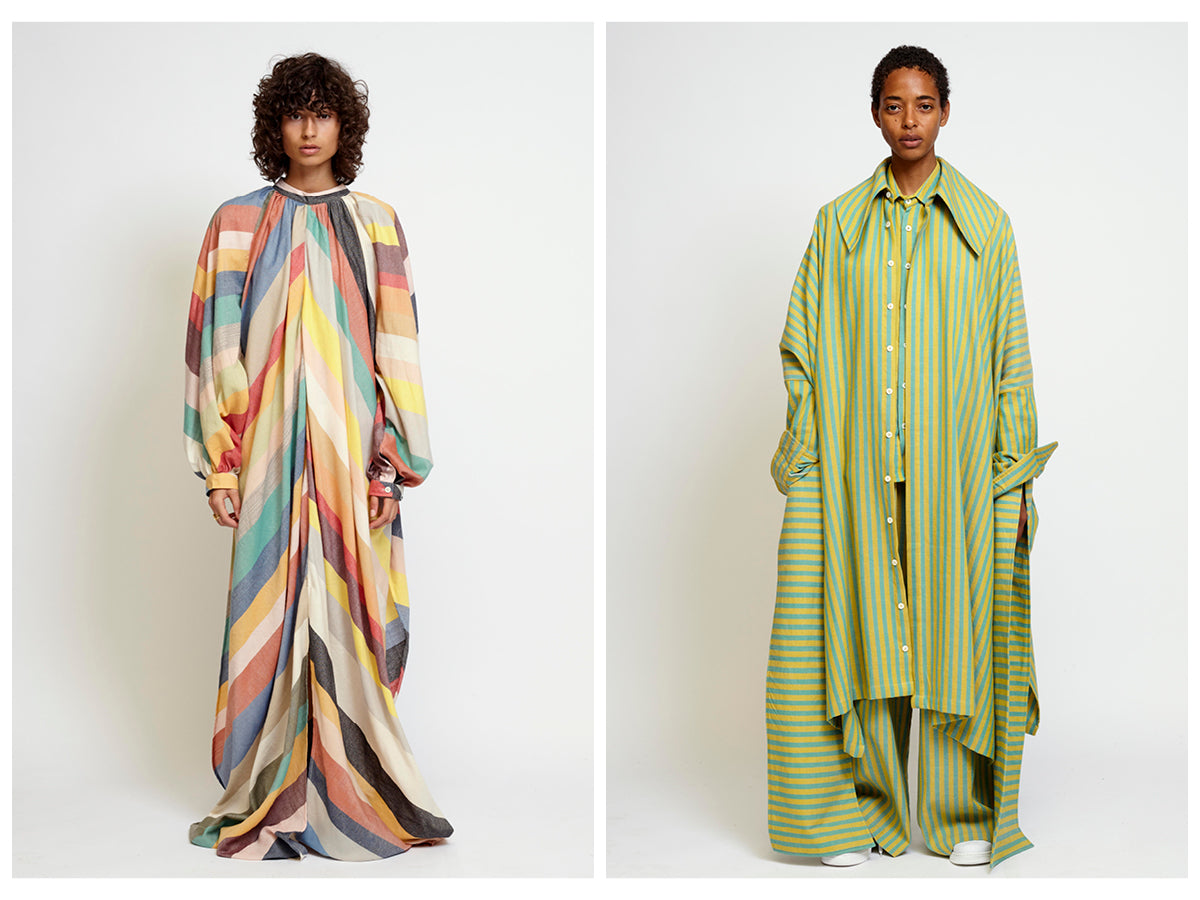 The first image is of a female model wearing a bright multi-colored striped dress. The second image is of a female model wearing a shirt, pants and jacket in yellow and green stripes.