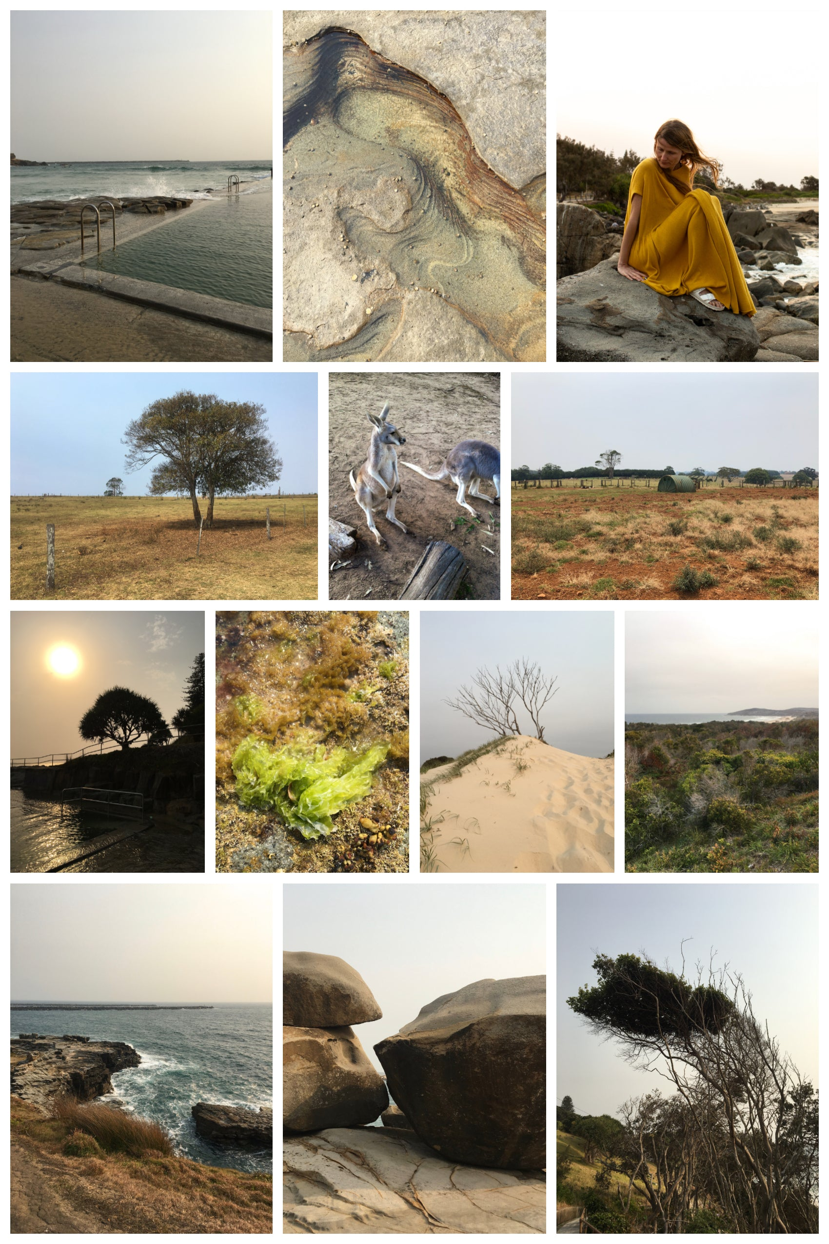 A collage of landscapes and seascapes taken in Yamba and Byron Bay, on the coast of Australia. Contains some close-up details of rock formations and seaweed. A woman wearing a yellow dress sits atop the rocks facing the ocean.