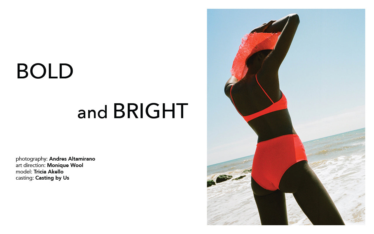 Image on left is of text reading Bold and Bright. Image on right is of a woman at the beach wearing a Red Nu Swim Bikini and a hat by Clyde.