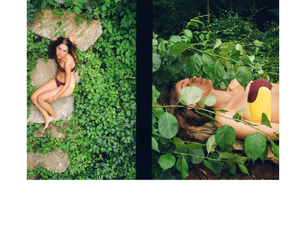 Images on left and right are of a woman lying on rocks amongst vines and wearing a bikini by Laura Urbinati.