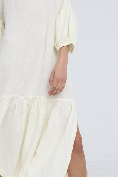Black Crane Puff Dress in Cream