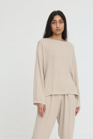 Black Crane Pullover in Natural on model view front