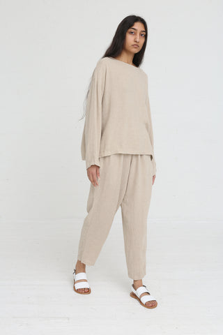 Black Crane Easy Pants in Natural on model view side