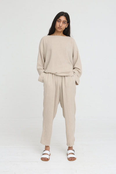 Black Crane Easy Pants in Natural on model view front
