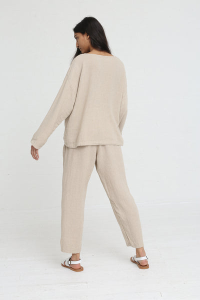 Black Crane Pullover in Natural on model view back