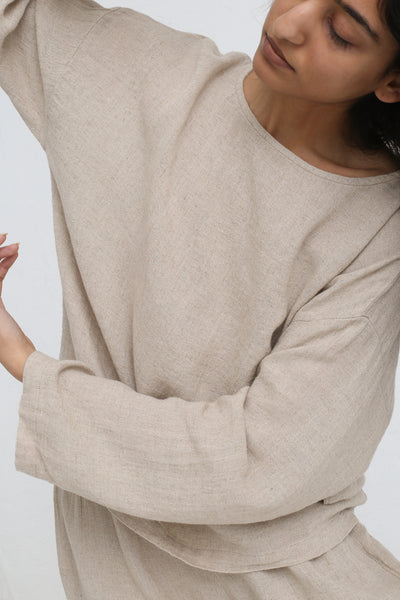 Black Crane Pullover in Natural on model view front detail