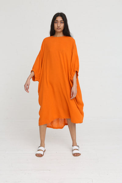 Black Crane Xiao Dress in Orange on model view front
