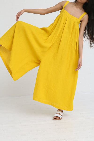 Black Crane Wide Jumper in Mustard on model view front