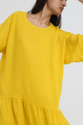 Black Crane Easy Tee Dress in Mustard on model view front