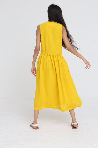 Black Crane Classy Tank Dress in Mustard on model view back
