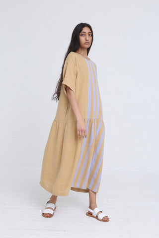 Black Crane Easy Tee Dress in Stripe on model view front