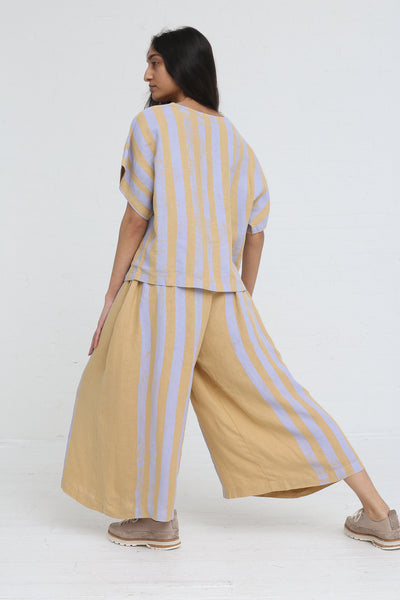 Black Crane Wide Culottes in Stripe on model view back