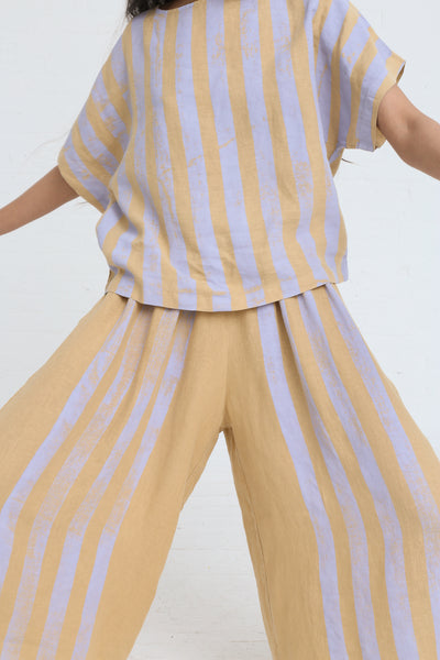 Black Crane Wide Culottes in Stripe on model view front