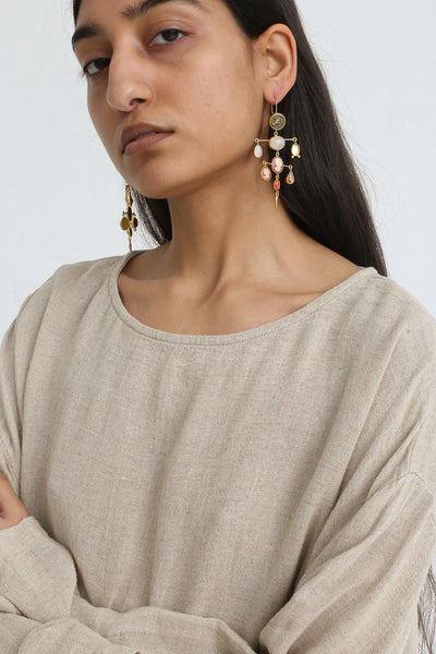 Grainne Morton Layered Victorian Drop Earrings on model view
