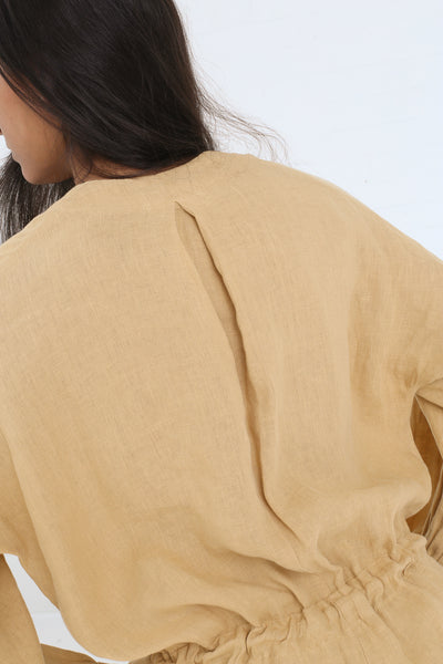 Black Crane Balloon Sleeve Jumpsuit in Tan on model view back detail