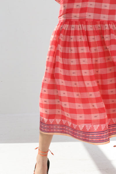 Ulla Johnson Alvina Dress in Hibiscus on model view hem detail