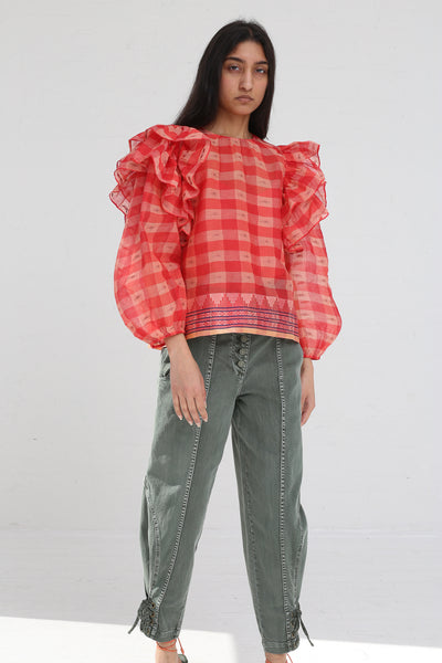 Ulla Johnson Caasi Blouse in Hibiscus on model view front