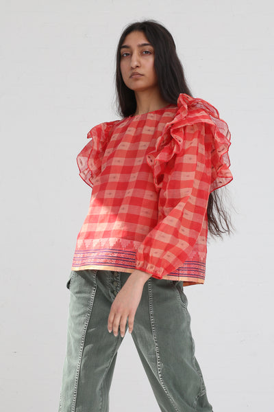 Ulla Johnson Caasi Blouse in Hibiscus on model view side