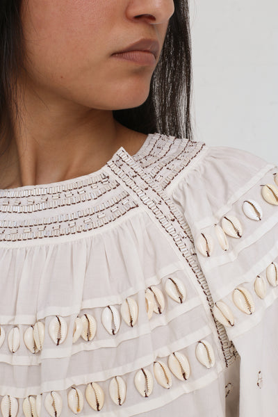 Ulla Johnson Tana Blouse in Blanc on model view front neckline detail