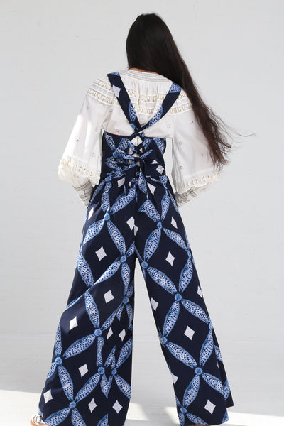 Ulla Johnson Kiko Jumpsuit in Indigo on model view back